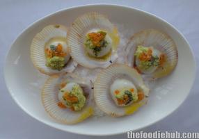 Harvey bay scallops smoked egg plant tarragon butter salmon pearls
