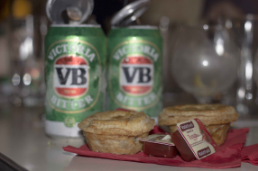 Beef and Lager Pies with a cocktail served in a VB Can