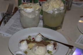 Chocolate Soil, torched meringue, kiwi and strawberry caviar, coconut ice cream