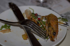 Barbequed Prawns, lemoin and peach cheeks, macadamia nuts - finished!
