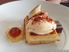 Waffle with maple syrup caramelised banana bacon egg ice-cream