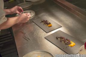 Kiren preparing the free range smoked yolk