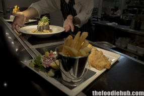 Fish and chips and grilled wagyu sirloin