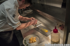 Kiren preparing the free range smoked yolk