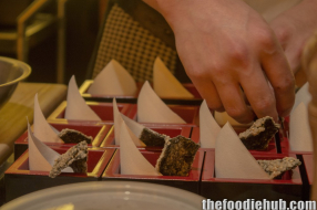 Preparing the kawa ebi and sundried crispy nori sheet