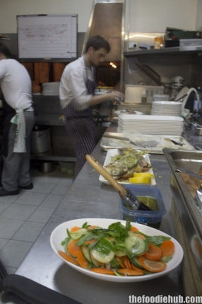 In the kitchen during prep