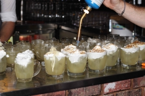Flamin Cockatoo Cocktail- Butter Vodka, elderflower liquer, yuzu, cockatoo feathers