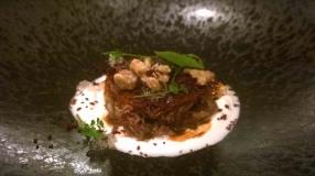 Roast Lamb Shoulder, Olives, Walnuts, Mint & Goats Curd