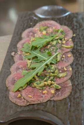 Smoked Beef Carpaccio with Olive Tapenade,  Grissini and Parmesan.